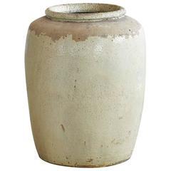 Massive Chinese Beige Glazed Stoneware Storage Jar