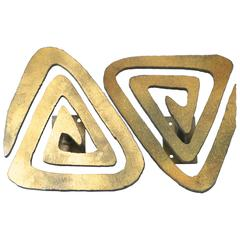 Pair of Brutalist Bronze Toned Architectural Door Pulls