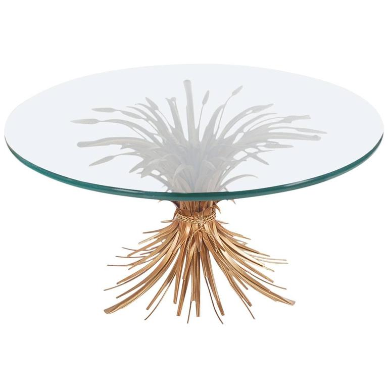 Hollywood Regency Italian Gold Sheaf of Wheat Coffee Table For Sale