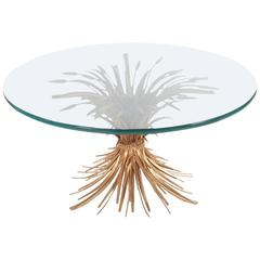 Hollywood Regency Italian Gold Sheaf of Wheat Coffee Table