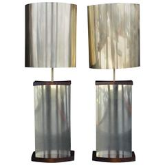 Pair of Large Sculptural Curtis Jere Lamps