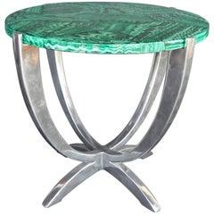 Art Deco Faux Malachite and Aluminum Table