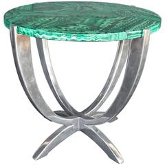 Art Deco Faux Malachite and Aluminum Table
