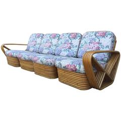 Square Pretzel Rattan Sofa Style of Paul Frankl