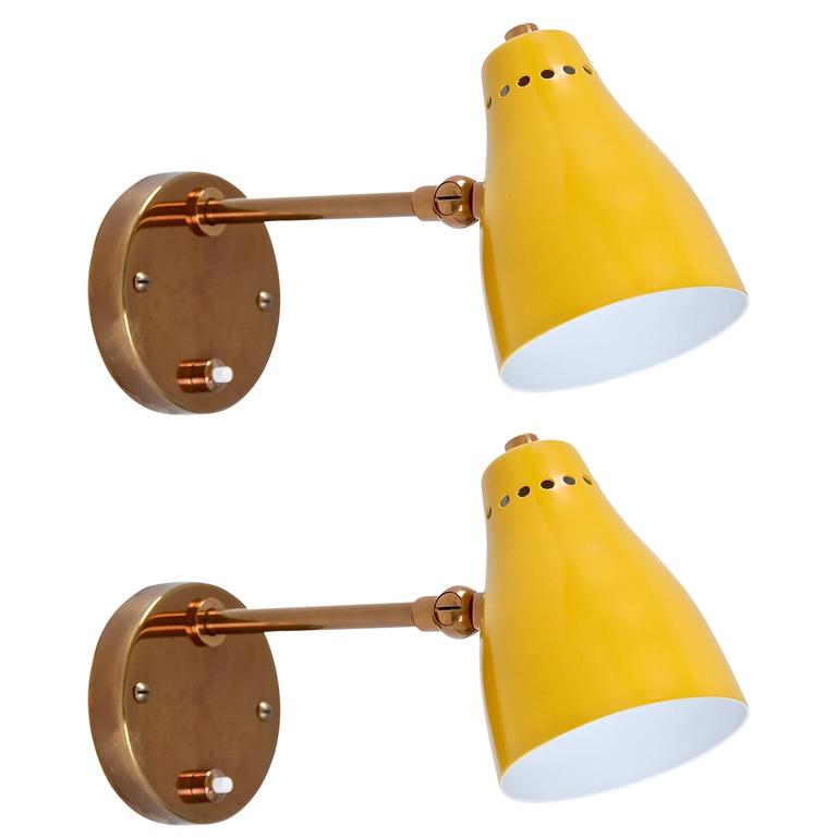 Yellow Wall Sconces : Yellow Italian 1950s Reading Lights at 1stdibs