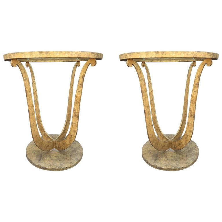 Pair of Gilt Iron Gueridon Tables