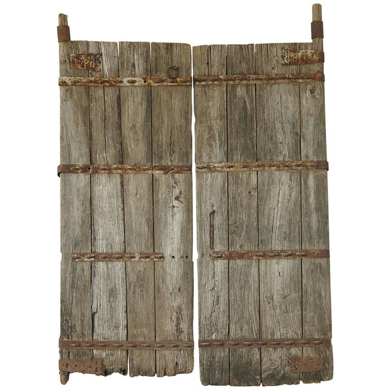 Pair of Antique Chinese Oak Gate Doors