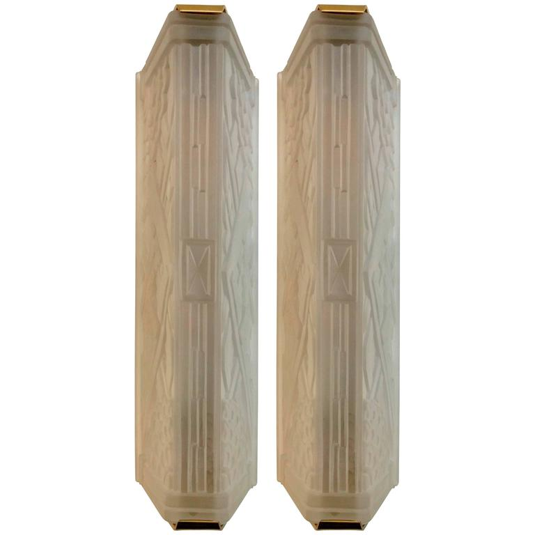 French Art Deco Geometric Wall Sconces For Sale