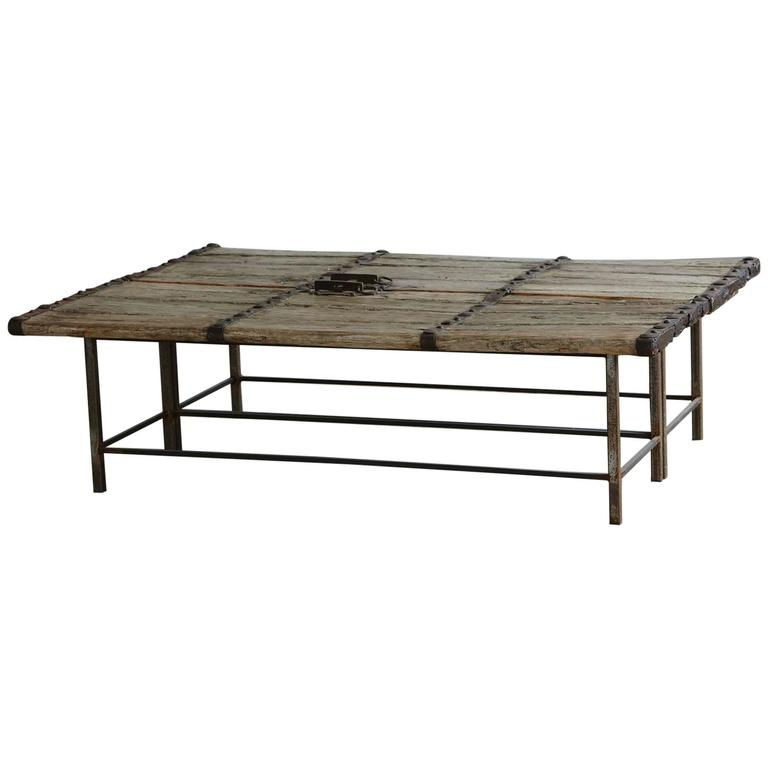 Low Antique Chinese Gate Doors Coffee Table On Custom Made Welded Metal Base For Sale At 1stdibs