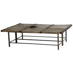 Antique Chinese Gate Doors Low Coffee Table on Custom Made Welded Metal Base