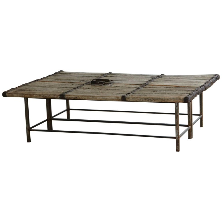 Antique Chinese Gate Doors Low Coffee Table on Custom Made Welded Metal Base For Sale