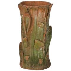 Art Nouveau Terra Cotta Tree Stump Umbrella Stand