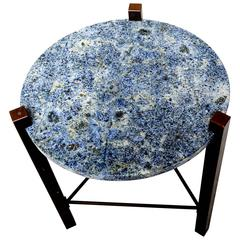Blue Granite and Solid Bronze Side Table