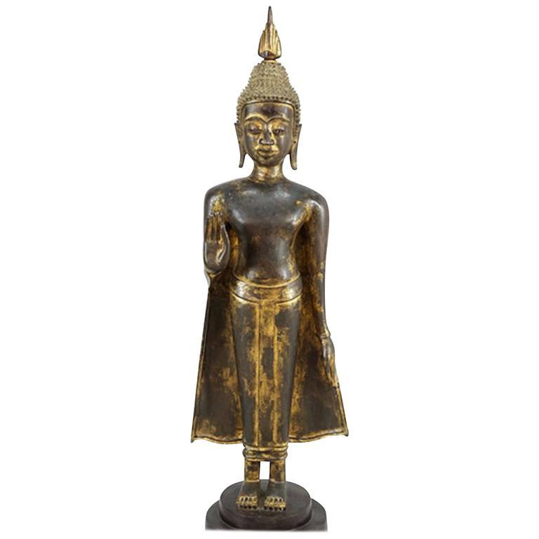 Thai 19th Century Bronze Buddha with Lovely Worn Gilt Finish