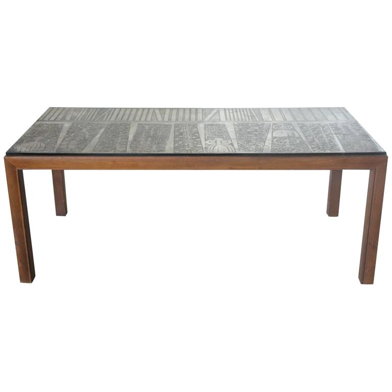 Square Steel Coffee Table Italian C 1970: Italian Etched Metal Top Coffee Table At 1stdibs