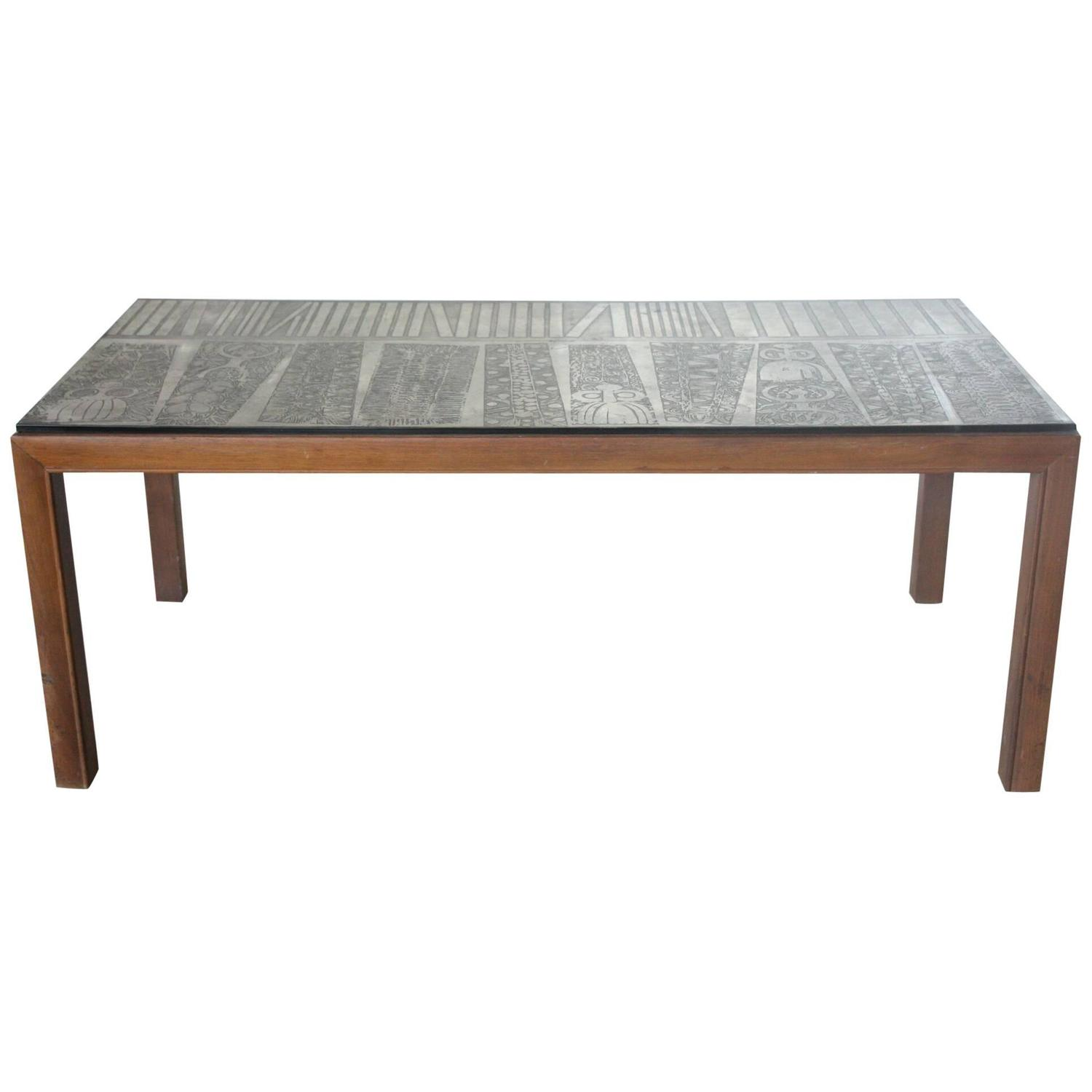 Italian Etched Metal Top Coffee Table At 1stdibs