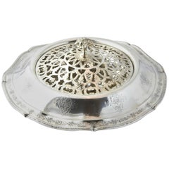Towle Louis XIV Ornate Sterling Silver Flower Display Bowl with Pierced Frog