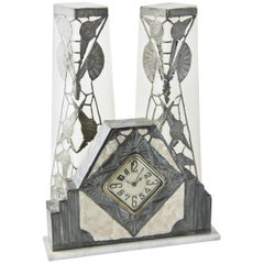 French Art Nouveau Clock and Vase Set by R. Ragu