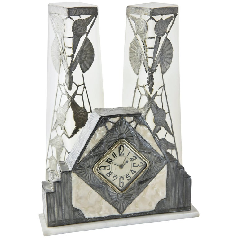 French Art Nouveau Clock and Vase Set by R. Ragu For Sale