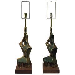 Brutalist Pair of Maurizio Tempestini Table Lamps, circa 1970