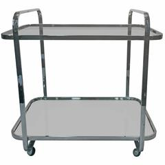 Magnificent Modern Milo Baughman Two-Tier Chrome Tea Cart, circa 1970