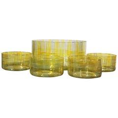 Vintage Glass Salad Bowl or Popcorn Set Signed Katya, 1998