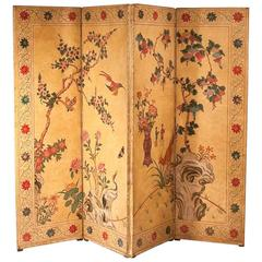 Reverse Four-Panel Painted Leather Screen