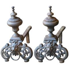 Louis XIV Style Andirons or Firedogs