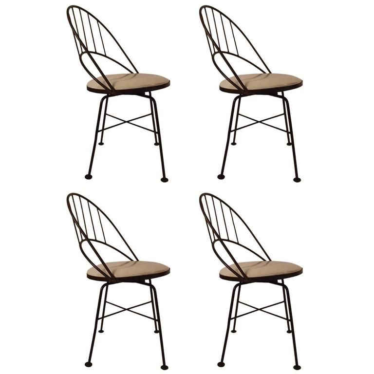 Super Set Of Four Wrought Iron Swivel Chairs Bralicious Painted Fabric Chair Ideas Braliciousco