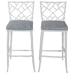 Pair of Phyllis Morris White Metal Faux Bamboo Tall Barstools