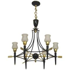 Neoclassical French 1940 Empire Style Chandelier by Maison Jansen