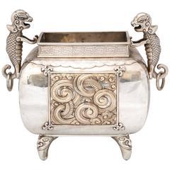 "Rare Meiji Period Japanese Silver "".950"" Footed Centerpiece Planter"