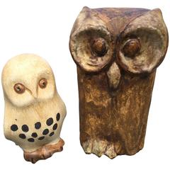 Wonderful Mid-Century Modern Arts & Crafts Owl Pair, Germany 1950s Signed