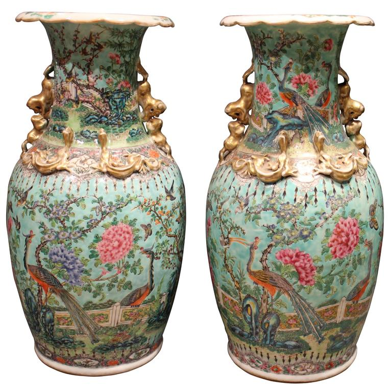 Fine Pair Of Antique Chinese Vases Decorated With Peacocks