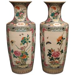 Fine Pair of Antique Chinese Famille Verte 'Green' Vases Decorated with Flowers