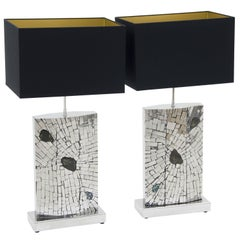 Pair of Lamps Mosaic Stainless Steel Inlaid Labradorite by Stan Usel