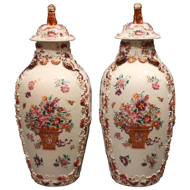 Pair Of 18th Century Antique Chinese Famille Rose Pink