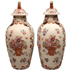 Pair of 18th Century Antique Chinese Famille Rose 'Pink' Vases and Covers