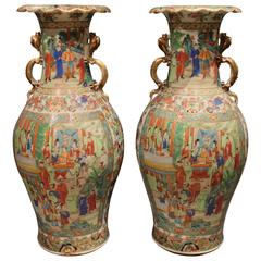 Pair of Large Antique Chinese Cantonese Vases with Dragon Ears