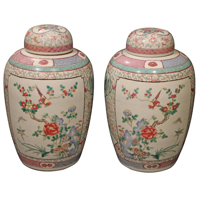 Pair Of Antique Chinese Famille Rose Pink Ginger Gars