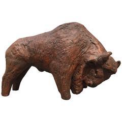 Big Bison Bull Mid-Century Modern Sculpture Arts and Crafts, 1960s