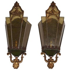 Bronze and Glass Wall Lantern Sconces