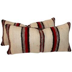Pair of Handwoven Navajo Saddle Blanket Pillows