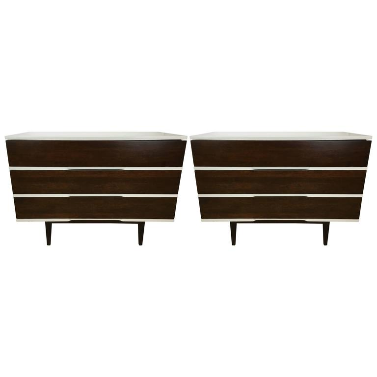 John Widdicomb Furniture For Sale Pair of Midcentury Three-Drawer Chests For Sale at 1stdibs
