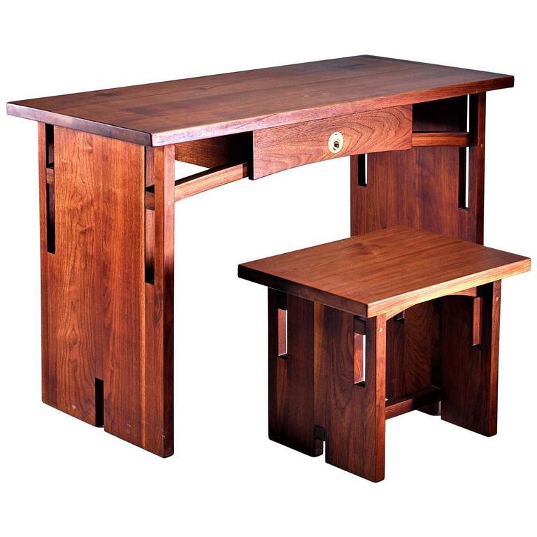David Barr Walnut Desk and Matching Stool, USA