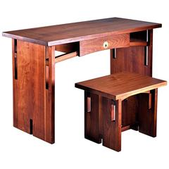 David Barr Walnut Desk and Matching Stool, USA