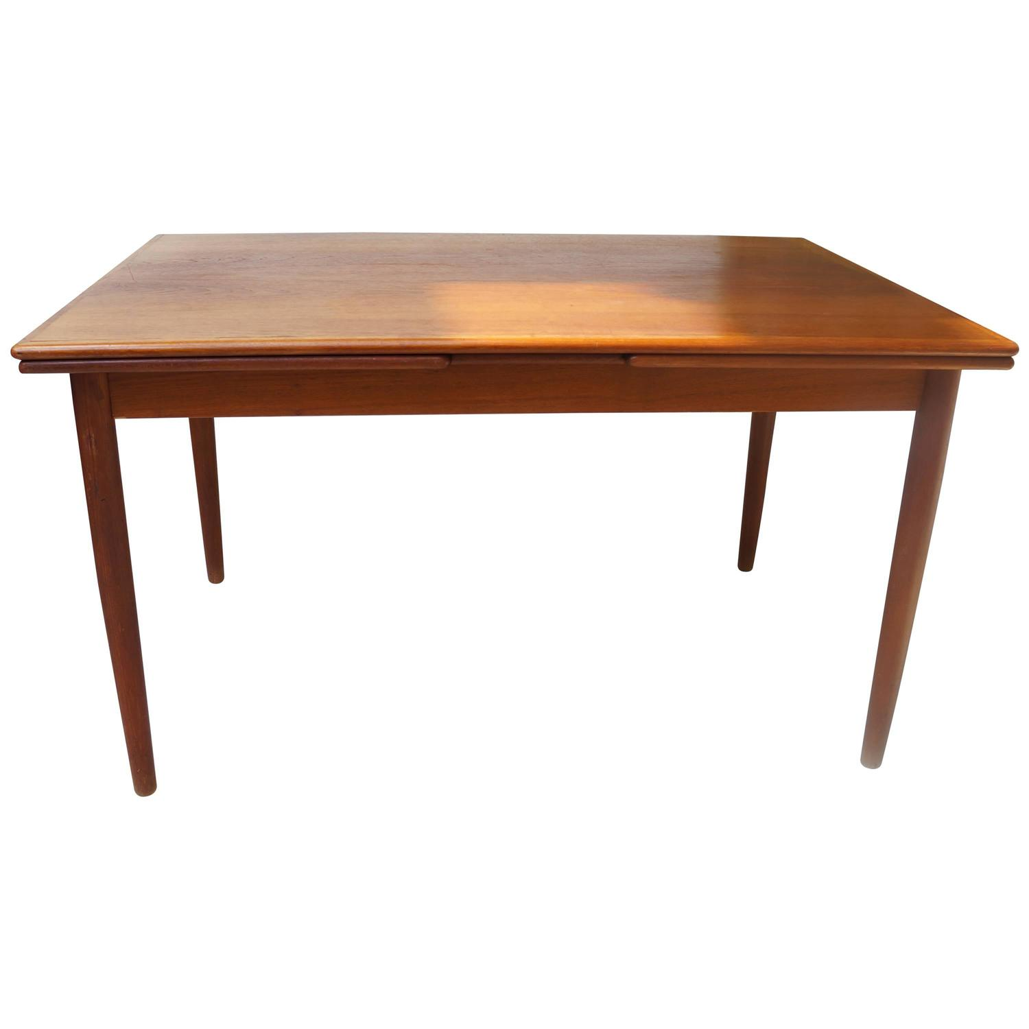 danish modern 1950s rectangular teak wooden dining table extendable