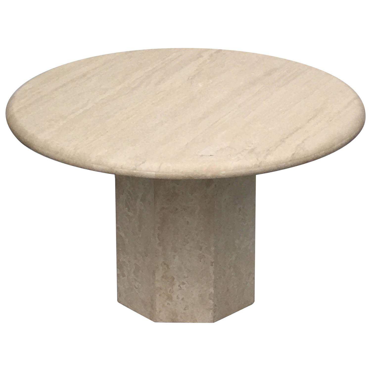 Round Italia Travertine Dining Table At 1stdibs
