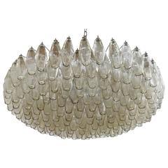 Italian Smoky Murano Glass Poliedri Chandelier by Venini