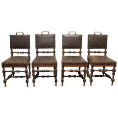 Set of Four 19th Century Renaissance Revival Oak Side Chairs